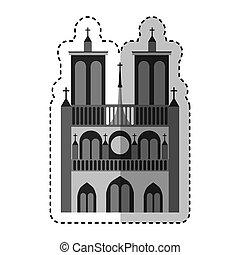 notre dame catedral monument vector illustration design