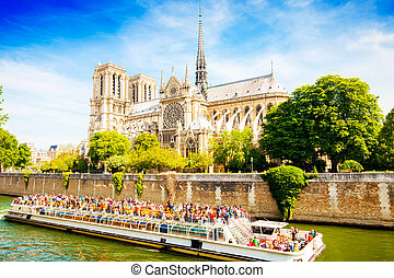 Notre Dame Cathedral church and river boat cruise, Paris