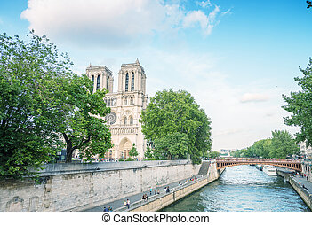 Notre Dame cathedral in Paris on a beautiful summer day