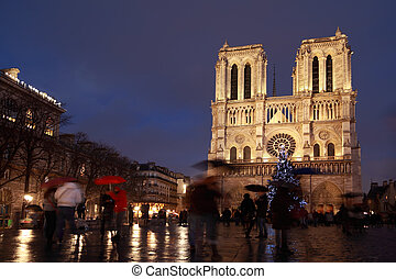Notre Dame Cathedral in Paris on december evening.