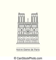 Notre Dame Cathedral line drawing