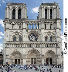 Notre Dame Cathedral, Paris, France. Main facade view....