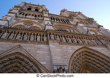 Notre Dame Cathedral. Paris, France. Main Facade.