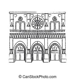 notre dame cathedral paris icon image vector illustration...