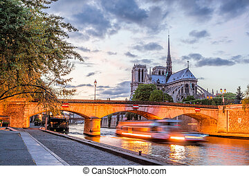 Notre Dame cathedral with boat in the evening, Paris, France