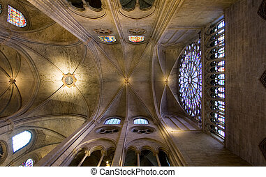 Notre Dame Ceiling - The ceiling structure and stained glass...