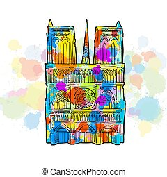 Notre Dame Colorful Sketch