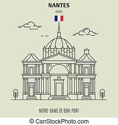 Notre-Dame de Bon-Port in Nantes, France. Landmark icon in ...