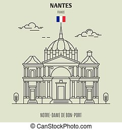 Notre-Dame de Bon-Port in Nantes, France. Landmark icon in linear style