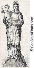 Notre-Dame de France Statue in Puy-en-Velay, old...