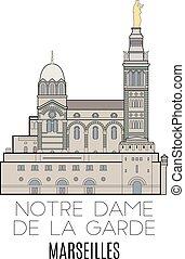 Notre Dame De La Garde, Marseilles. Line style