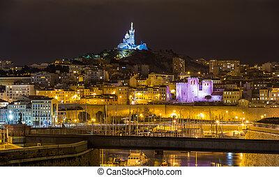 Notre-Dame de la Garde over the Old Port in Marseille