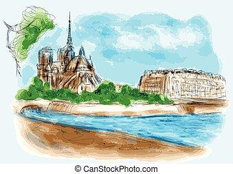 Notre Dame de Pari in watercolor