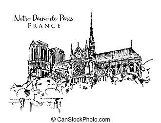 notre dame de paris, abbildung, skizze, zeichnung