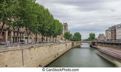 Notre Dame de Paris and Seine timelapse hyperlapse is the...