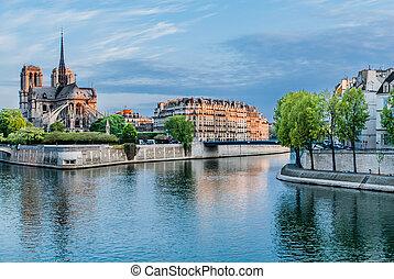 notre dame de paris and the seine river France