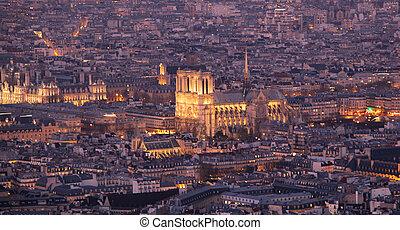 Notre dame de Paris at night, France.