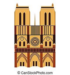 Notre Dame de Paris Cathedral, France. Flat style