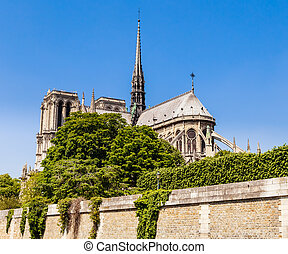 Notre Dame de Paris Catholic Christian Cathedral with the...