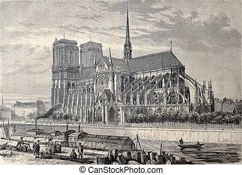 Notre Dame de Paris - Antique engraved illustration of Notre...