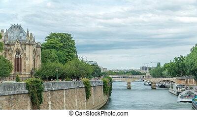 Notre Dame de Paris Garden on Cite Island timelapse, Paris,...