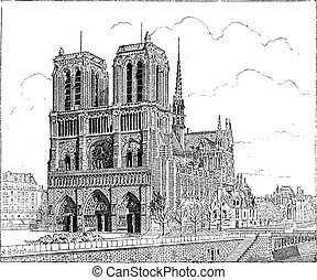 Notre Dame de Paris, in Paris, France, built in 1163, vintage engraved illustration. Dictionary of Words and Things - Larive and Fleury - 1895