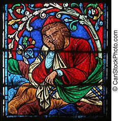 Notre Dame de Paris, stained glass - Colorful stained glass...