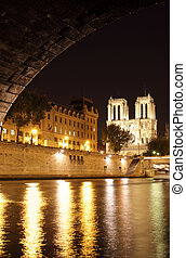 Notre Dame de Paris - Night view of Notre Dame de Paris,...