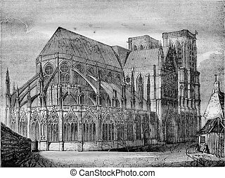 Notre Dame de Paris, vintage engraving. - Notre Dame de...
