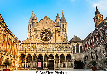 Notre-Dame de Tournai facade view with towers , Cathedral of...