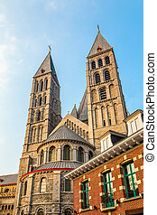 Notre-Dame de Tournai towers, Cathedral of Our Lady, Tournai...