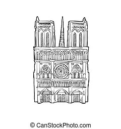 Notre Dame facade illustration. Hand drawn historic...