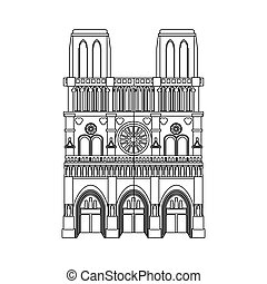 notre dame icon - notre dame cathedral icon over white...