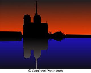 Notre Dame Paris reflected in River Seine