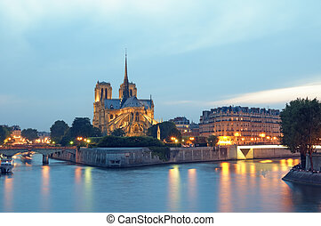 Notre Dame, Paris - France - Notre Dame and River Seine at...