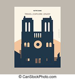 Notre Dame Paris, France Vintage Style Landmark Poster Template