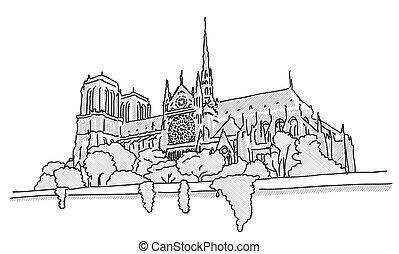 Notre Dame Paris, Hand Drawn Sketch, Vector Outline Version...