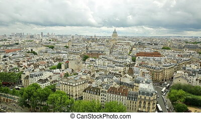 Notre Dame Paris panorama - panorama of Paris in France with...
