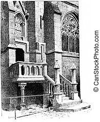 Notre Dame, Stairs vestries, vintage engraving. - Notre...