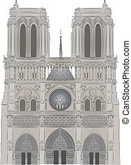 Notre Dame vector illustration stlyized and detailed in...
