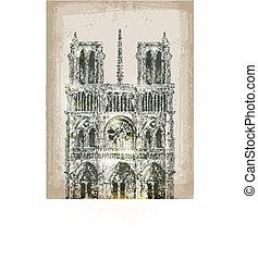 notre, de, paris, abbildung, hand, france., kathedrale, gezeichnet, dame