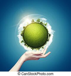 notre, eco, résumé, arrière-plans, conception, mondiale, vert, mains, ton