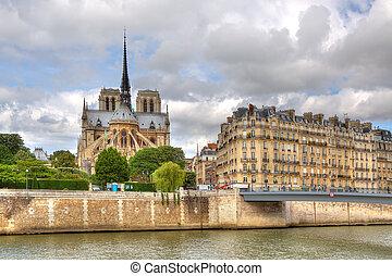 notre, france., cathedral., paris, dame