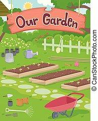 notre, jardin, illustration, signage