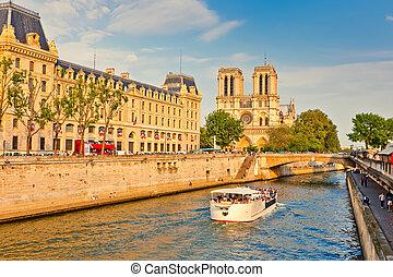 notre, seine rivier, mokkel, kathedraal