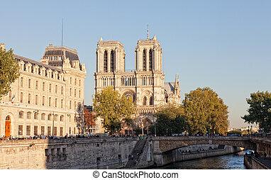 notre, zegen, (paris), langs, rivier, mokkel