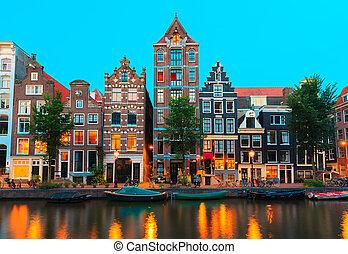 notte, canali, amsterdam, vista, città