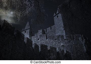 notte, castello, pieno, medievale, luna