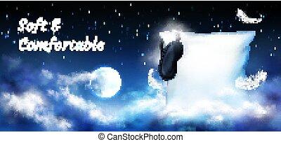 notte, cielo luna, pieno, cuscino, bendare