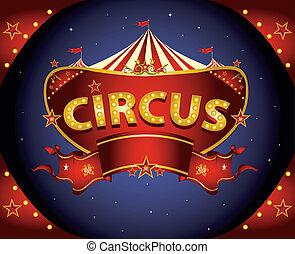 notte, circo, rosso, segno